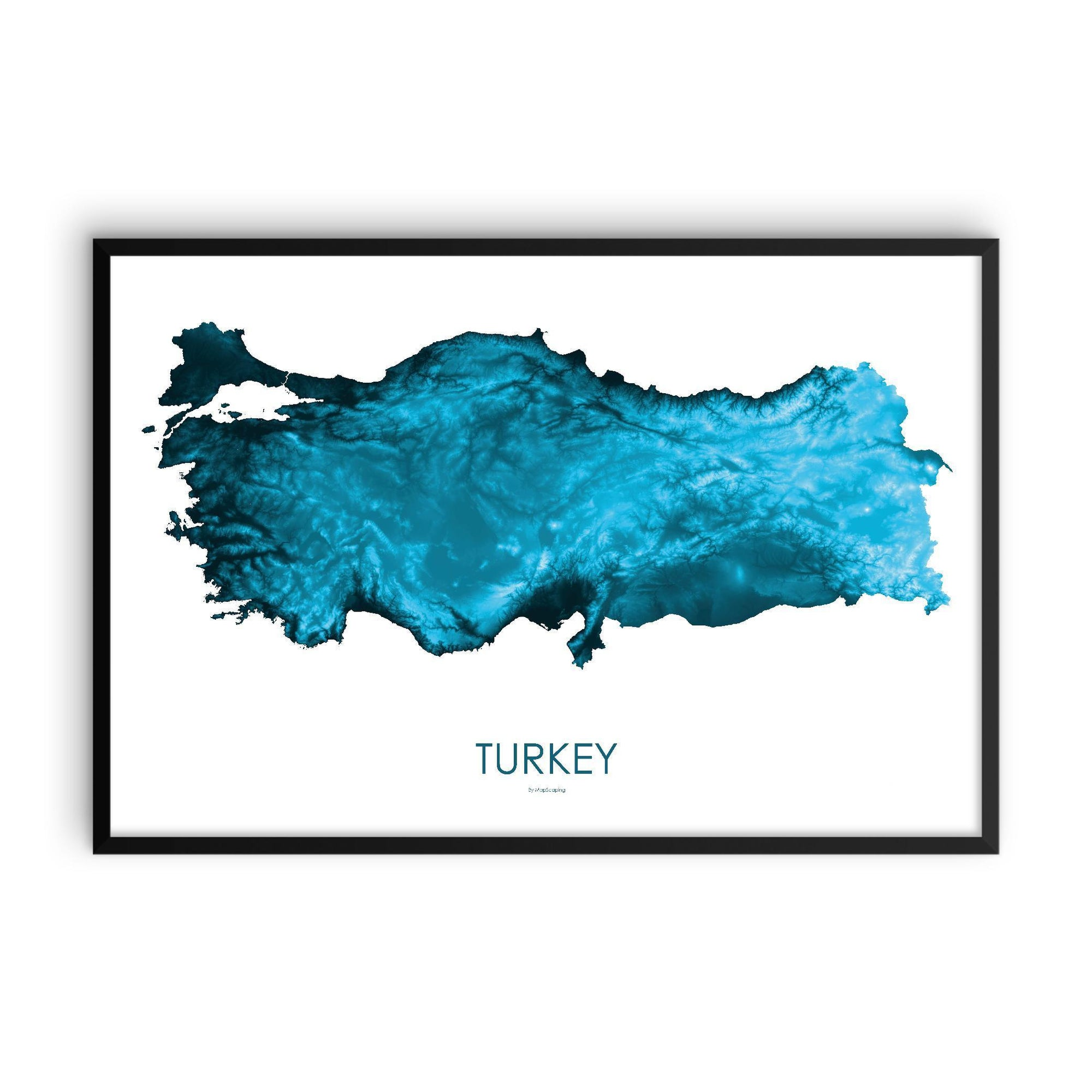Turkey Poster Petroleum Blue-topographic wall art map by MapScaping