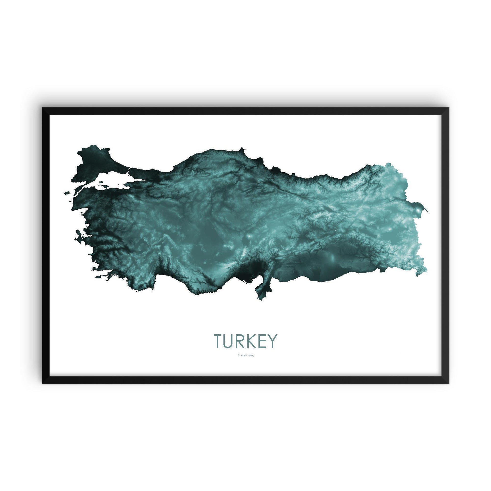 Turkey Poster Teal-topographic wall art map by MapScaping