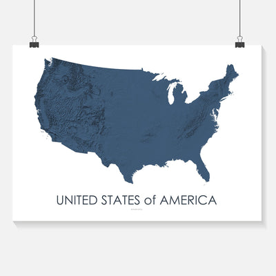 USA Map 3D Midnight Blue-Topographic Map