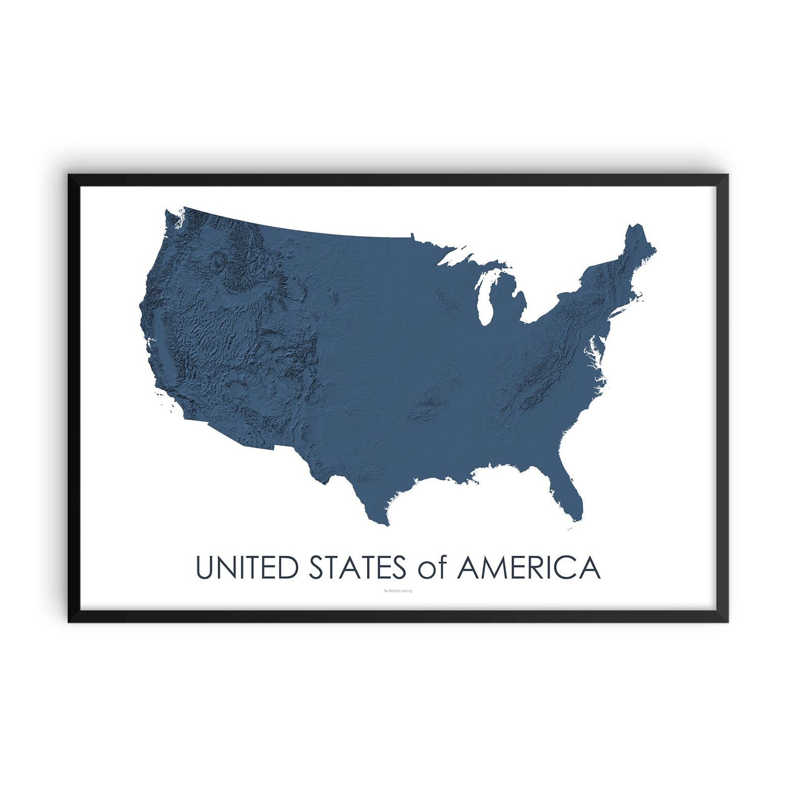 Blue Usa Map.A Collection Of Topographic Wall Art Featuring Usa Mapscaping