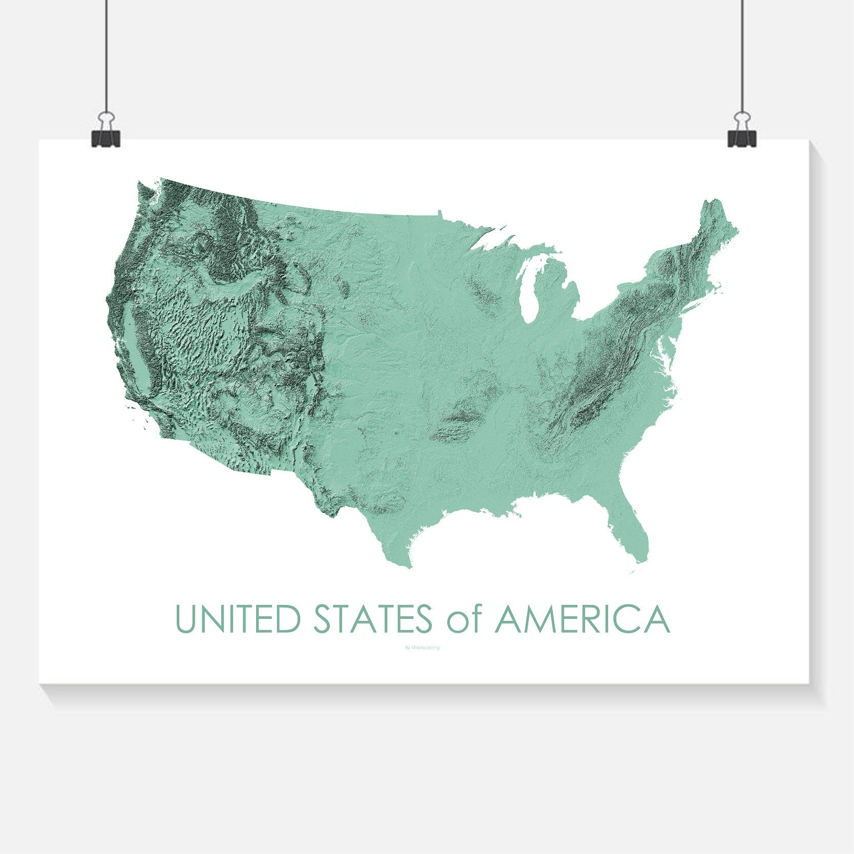Topographic Map Of The Usa.Usa Poster Solid Mint Topographic Map Art By Mapscaping
