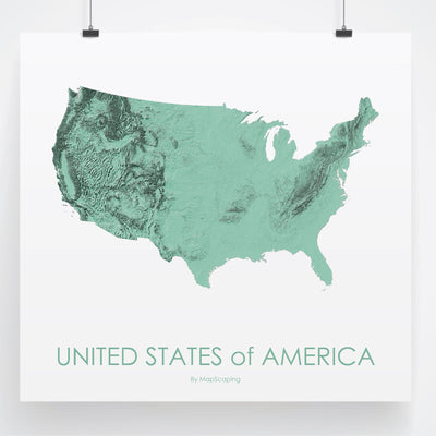 USA Map 3D Mint-Topographic Map