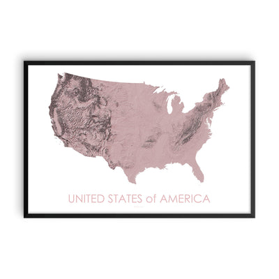 USA Map 3D Rose-Topographic Map