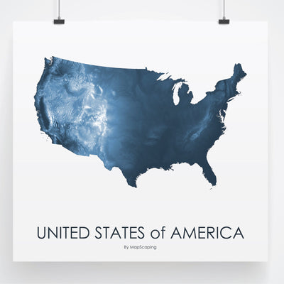 USA Map Midnight Blue-Topographic Map