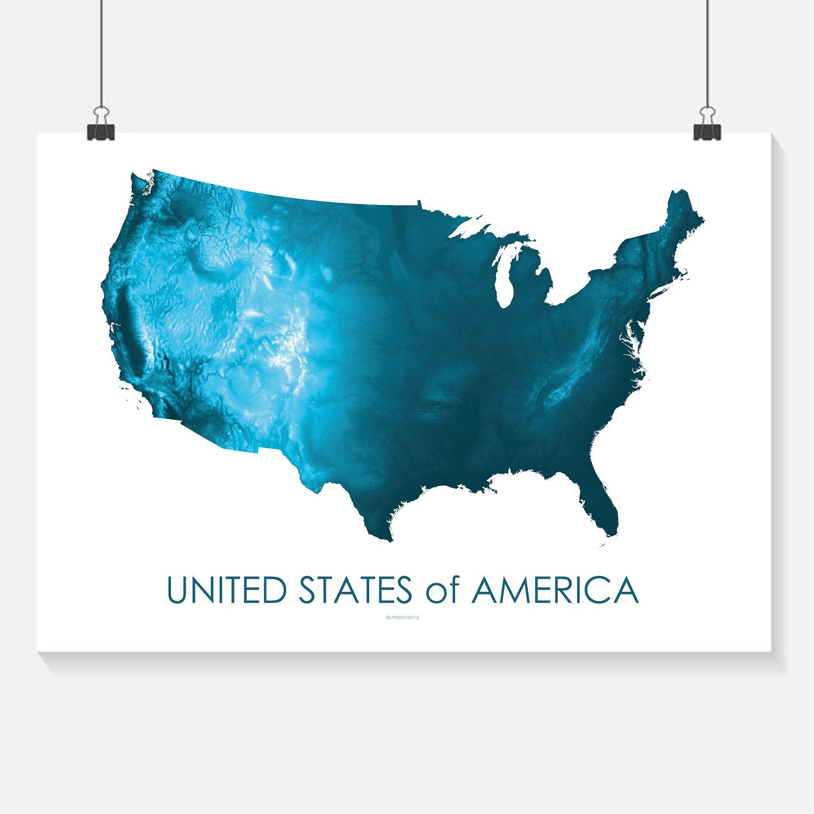 Topographic Map Of The Usa.Usa Poster Petroleum Blue Topographic Map Art By Mapscaping