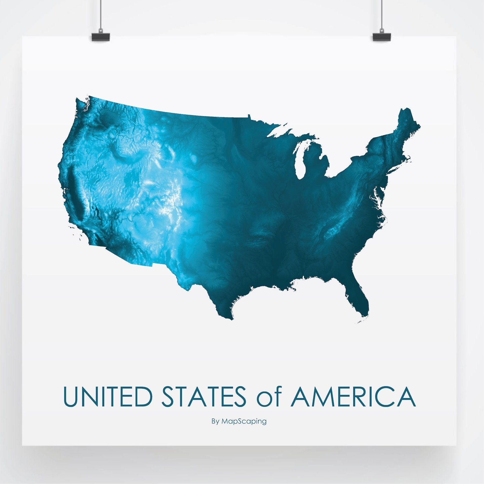 Usa Poster Petroleum Blue Topographic Map Art By Mapscaping - Topographic-map-us