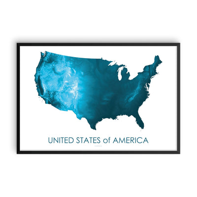 USA Map Petroleum Blue-Topographic Map