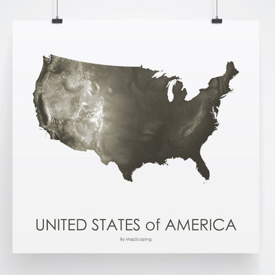 USA Map Slate-Topographic Map