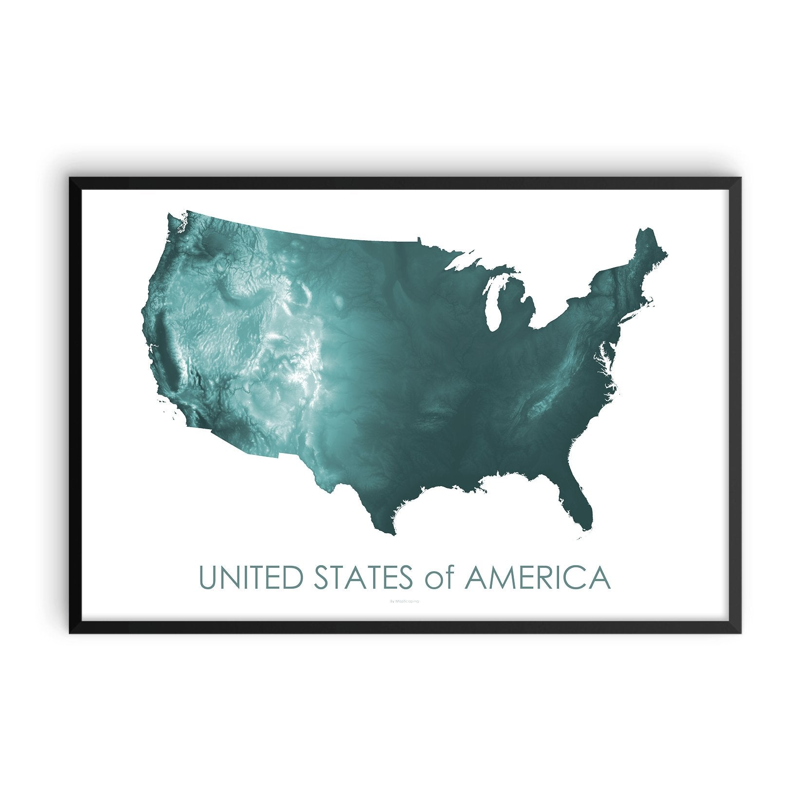 USA Map Teal-Topographic Map