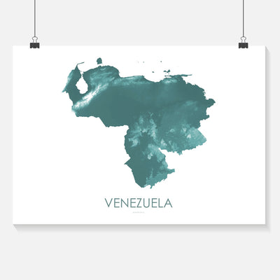 Venezuela Map Teal-Topographic Map