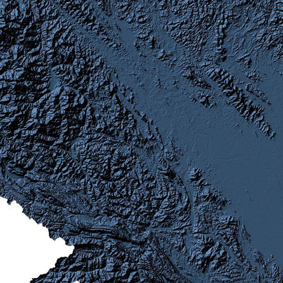 Vietnam Map 3D Midnight Blue-Topographic Map