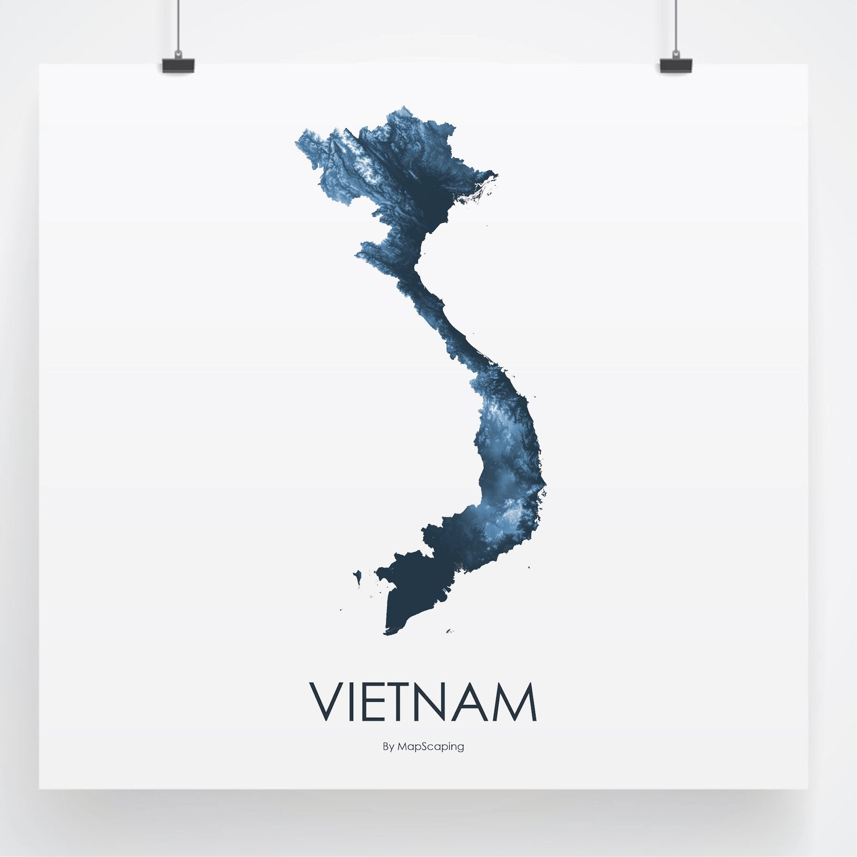 Vietnam topographic wall art map - MapScaping.com