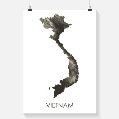 Vietnam Map Slate-Topographic Map