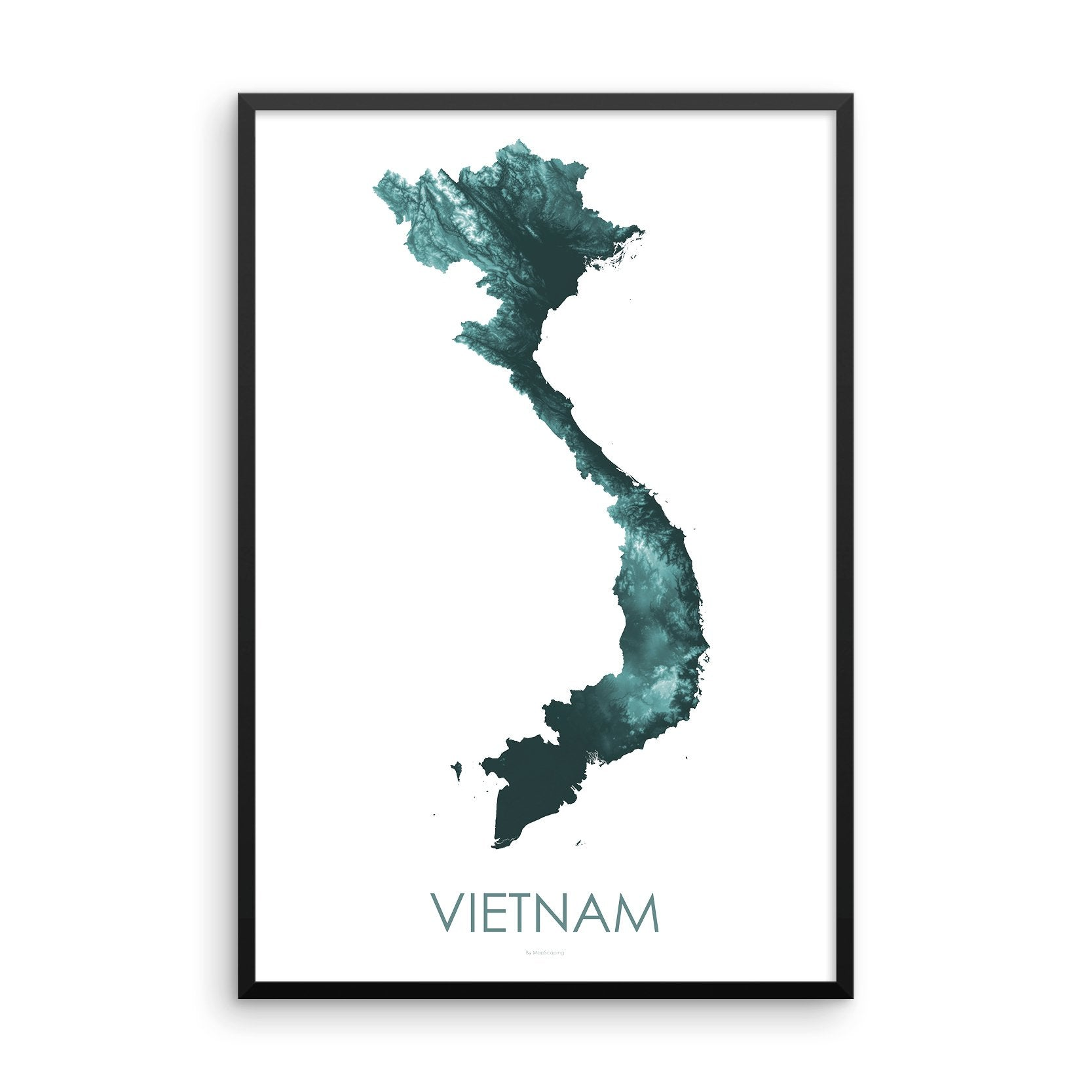 Vietnam Map Teal-Topographic Map