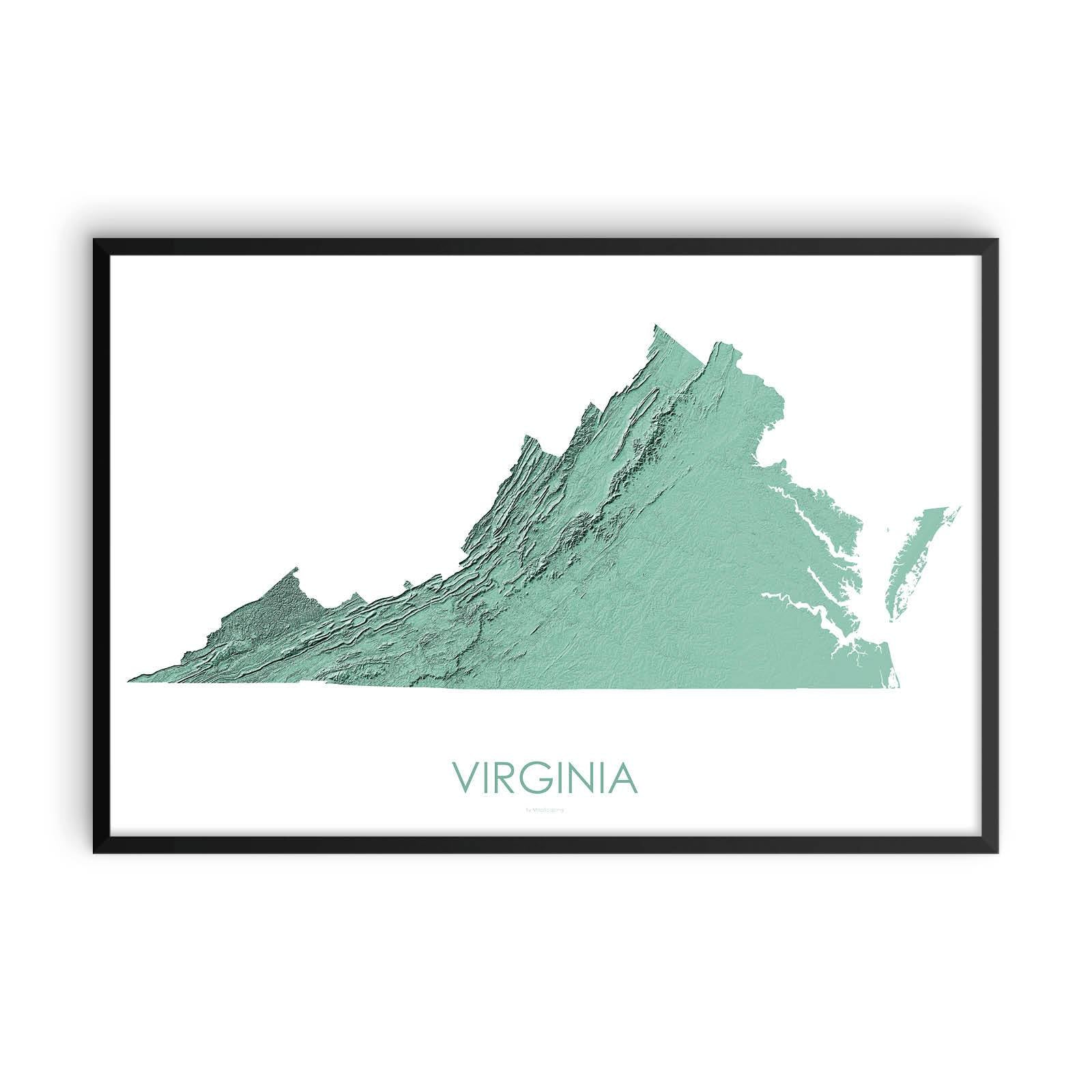 Virginia Map 3D Mint