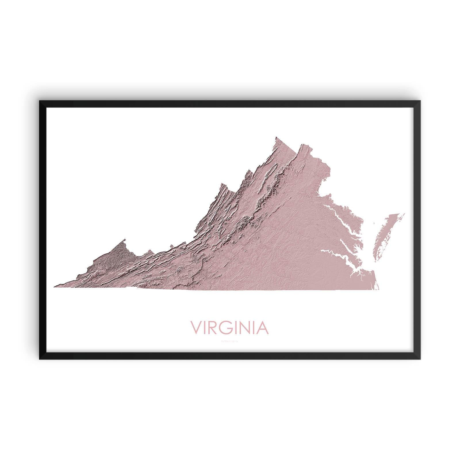 Virginia Map 3D Rose