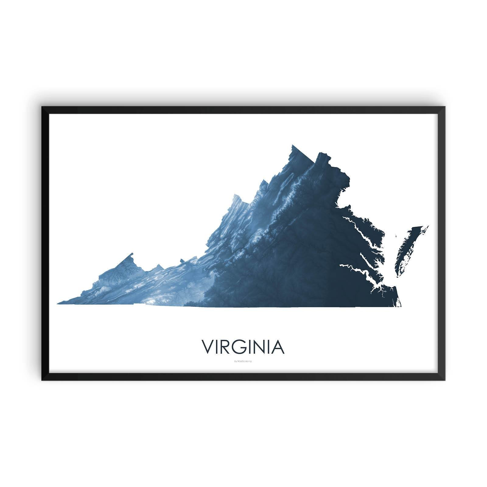 Virginia Map Midnight Blue