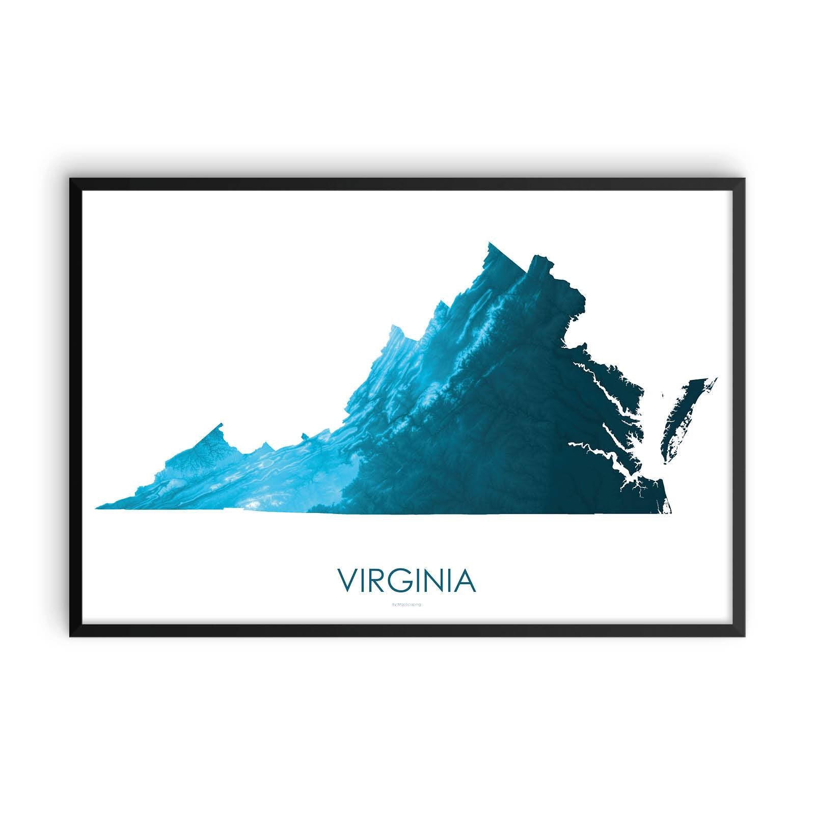 Virginia Map Petroleum Blue