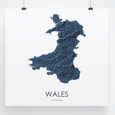 Wales Map 3D Midnight Blue-Topographic Map