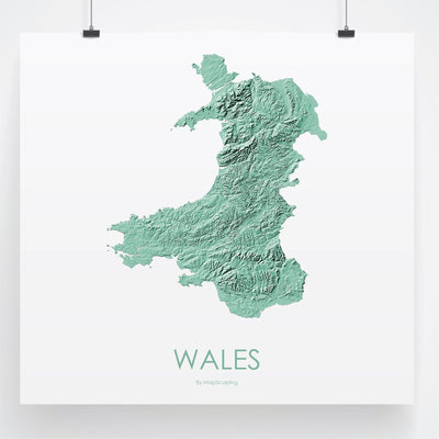Wales Map 3D Mint-Topographic Map