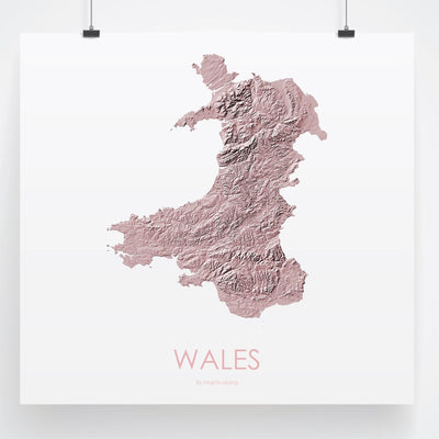 Wales Map 3D Rose-Topographic Map
