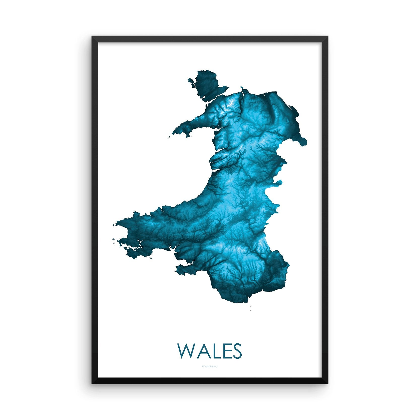 Wales Map Petroleum Blue-Topographic Map