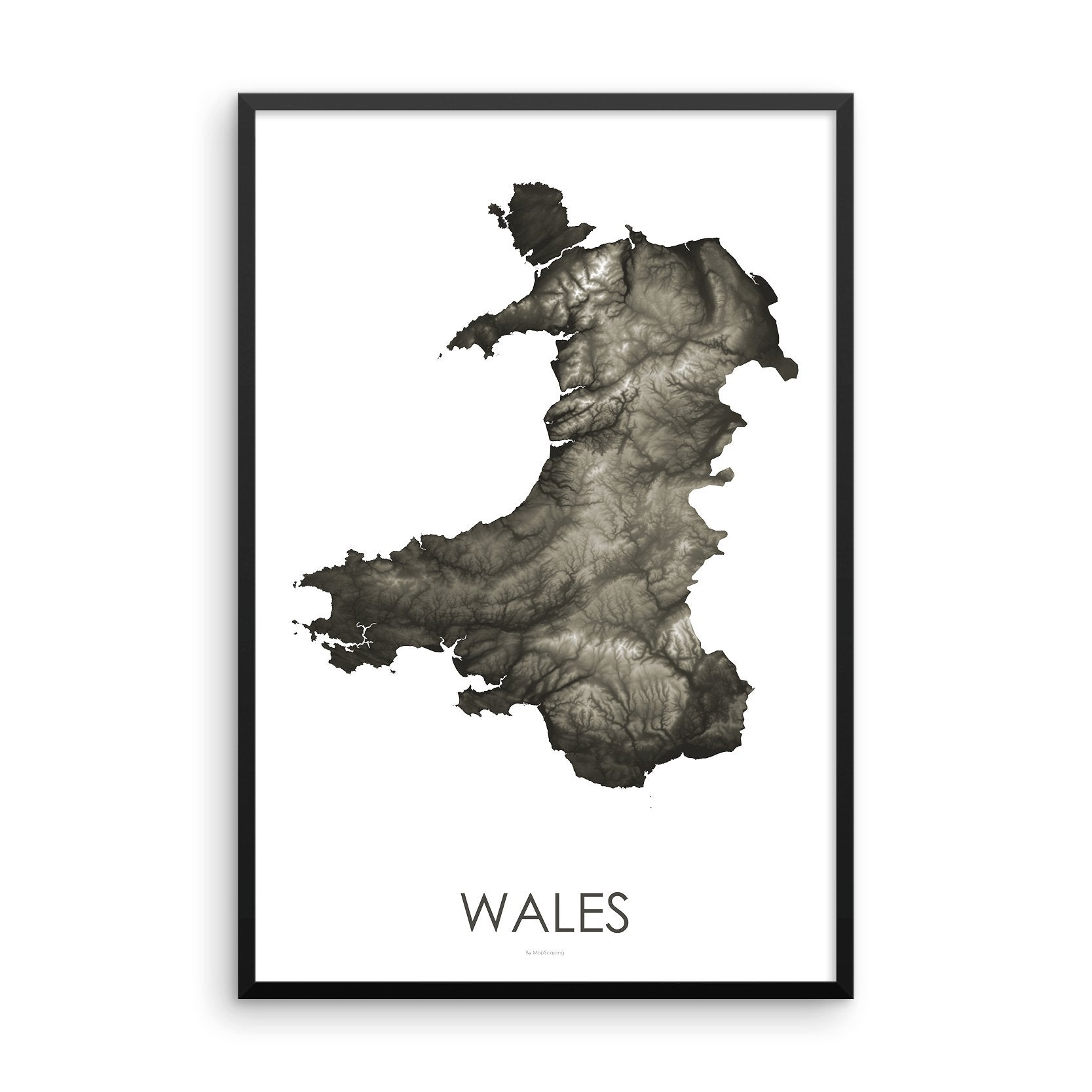 Wales Map Slate-Topographic Map