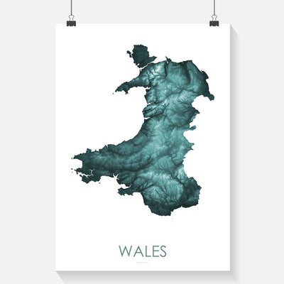 Wales Map Teal-Topographic Map
