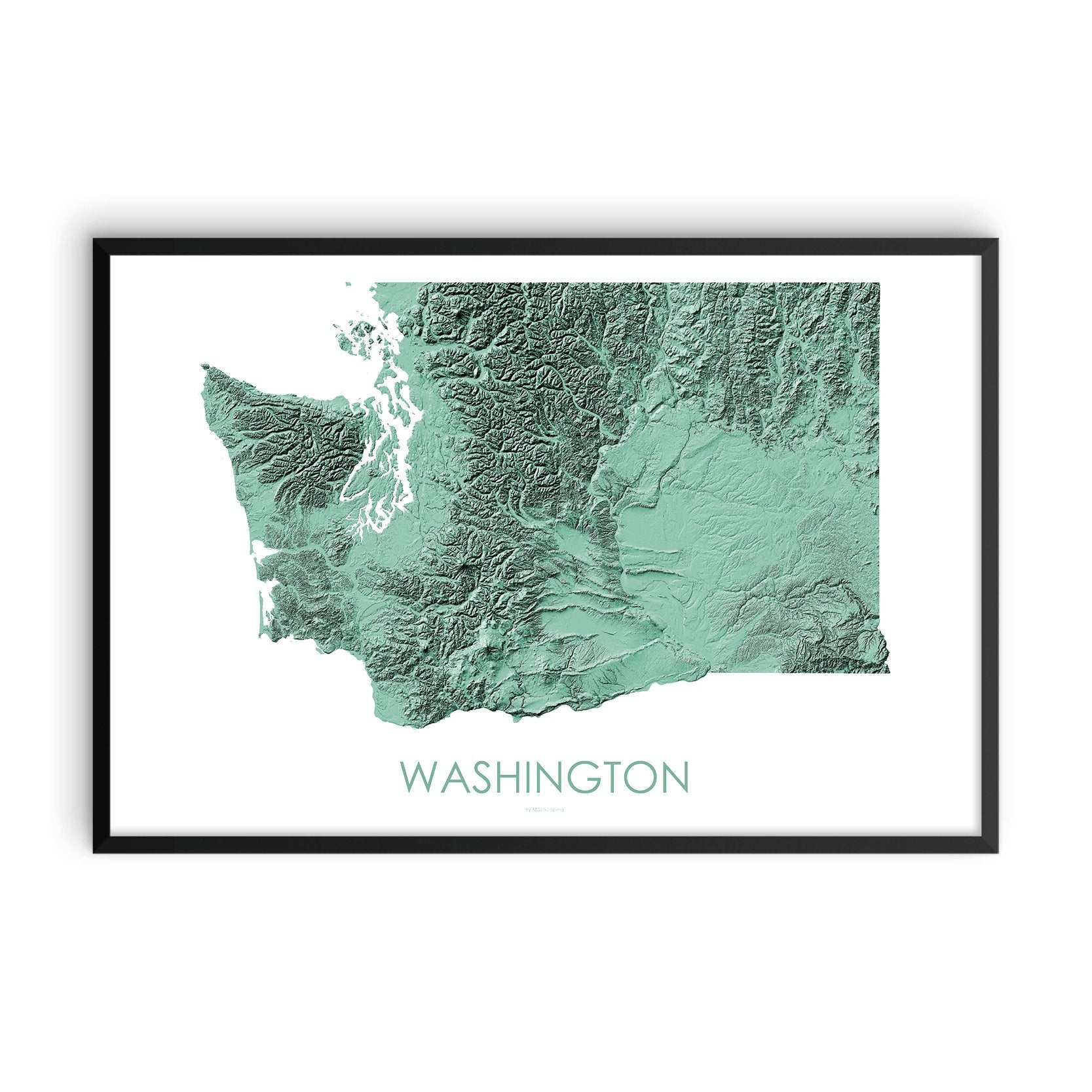 Washington Map 3D Mint-Topographic Map