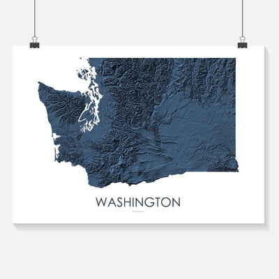 Washington Map Midnight Blue-Topographic Map