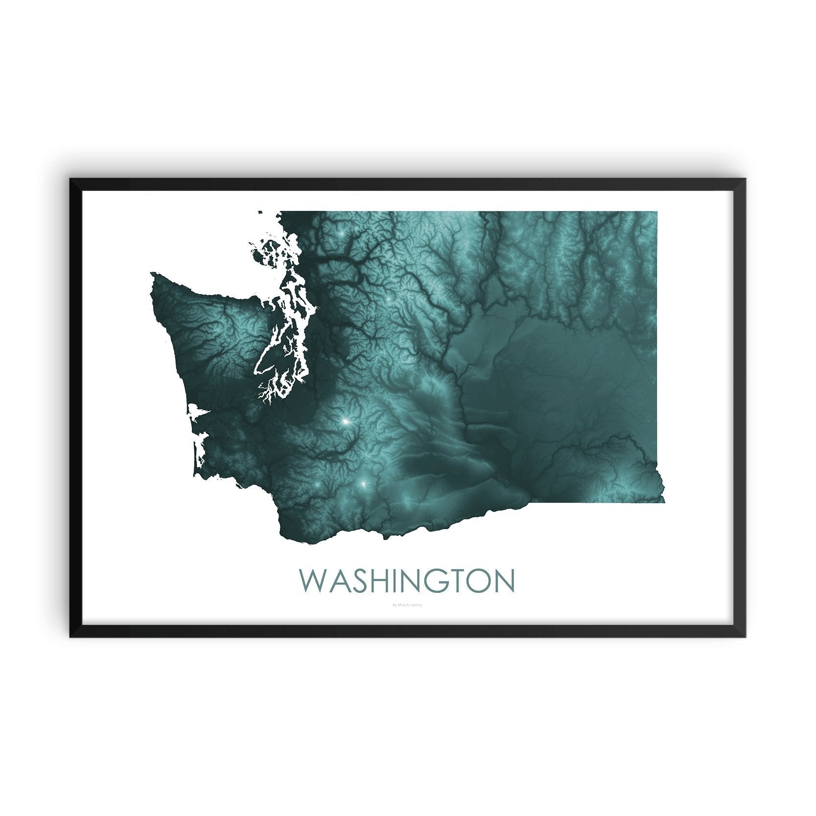 Washington Map Teal-Topographic Map