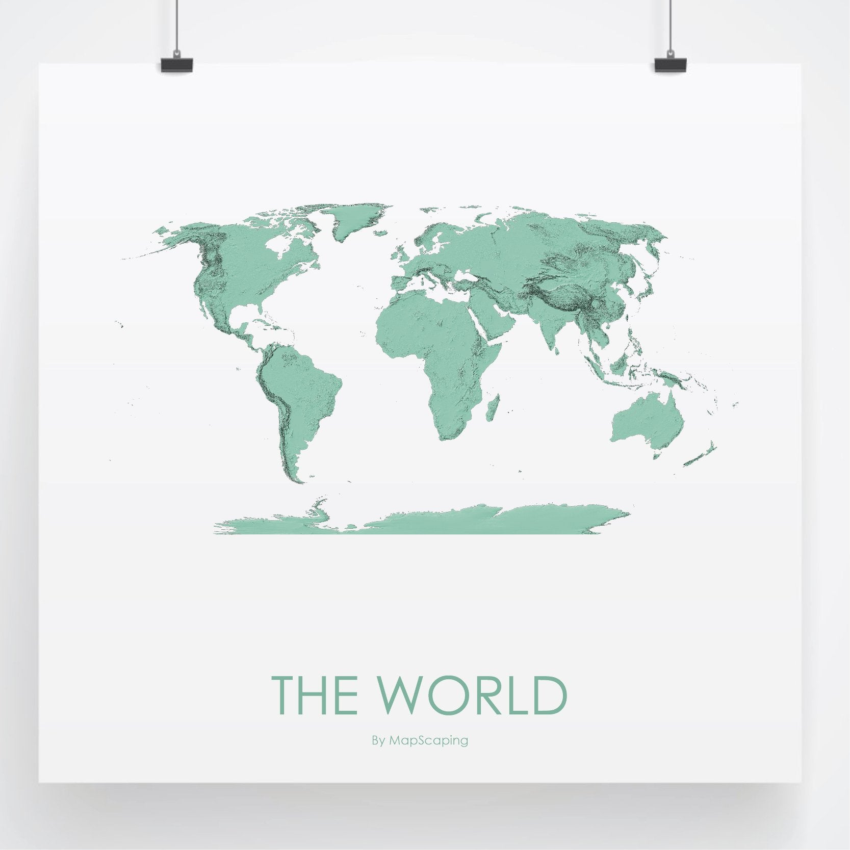 Wolrd Topographic Wall Art Map