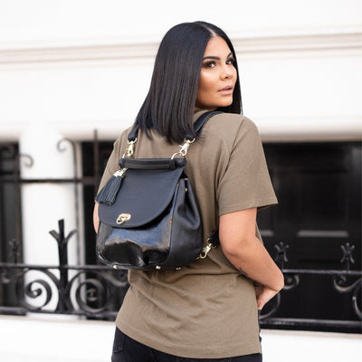 The Muriel - 4 way Backpack: All Black/Gloss