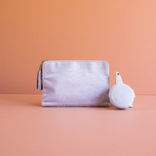 Alf the Label Little Joy Clutch Lilac Limited Edition Baby bag Nappy bag Diaper bag leather bag Gold Hardware Tassels