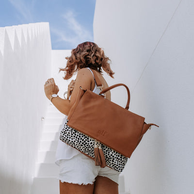 The Ari - 3 Way Backpack: Tan Spot