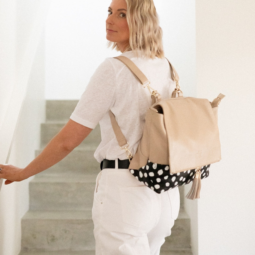 The Ari - 4 Way Backpack: Stone Black Spot