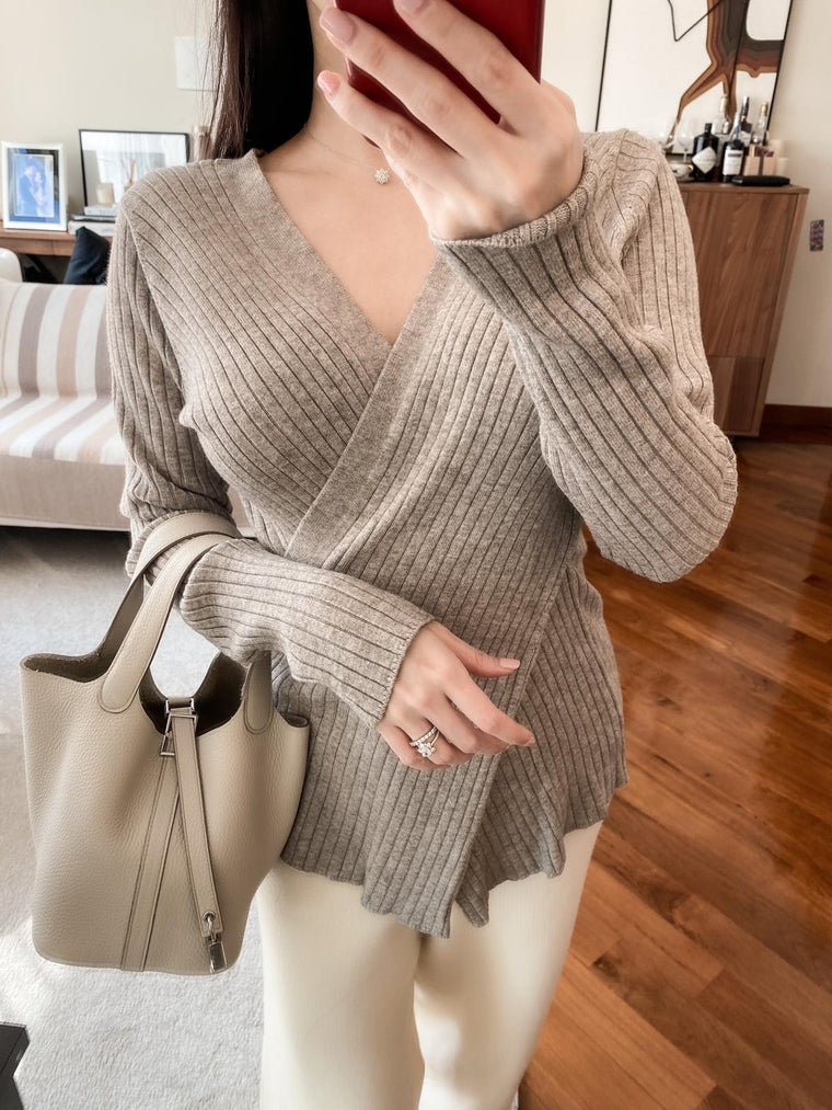 Cissy khaki cross wrap ribbed sweater