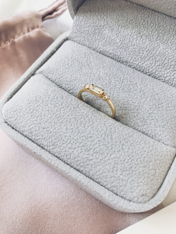 18K Yellow Gold Baguette Diamond Ring