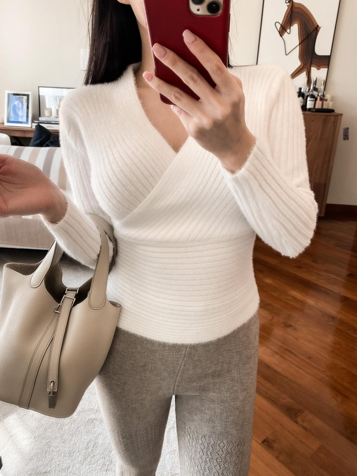 Lorraine white ribbed wrap sweater