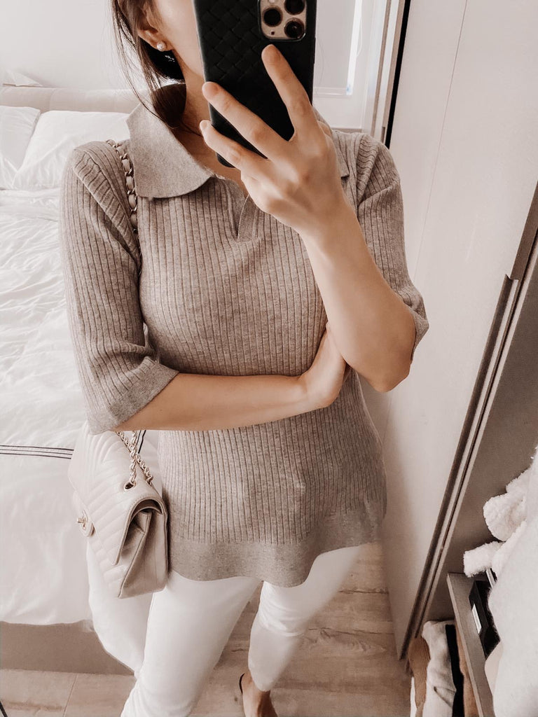 Jolie apricot open collar ribbed sweater