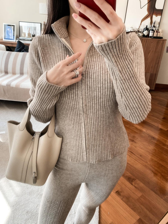 Iris khaki cable-knit leggings
