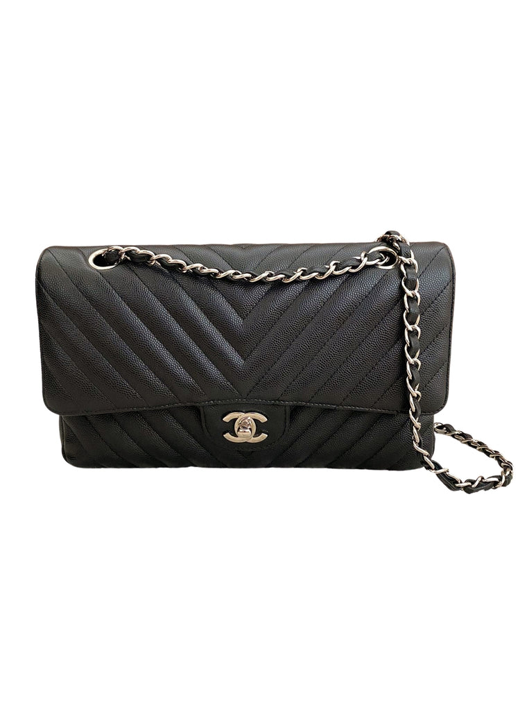 CHANEL MEDIUM CLASSIC FLAP CHEVRON CAVIAR BAG - BLACK