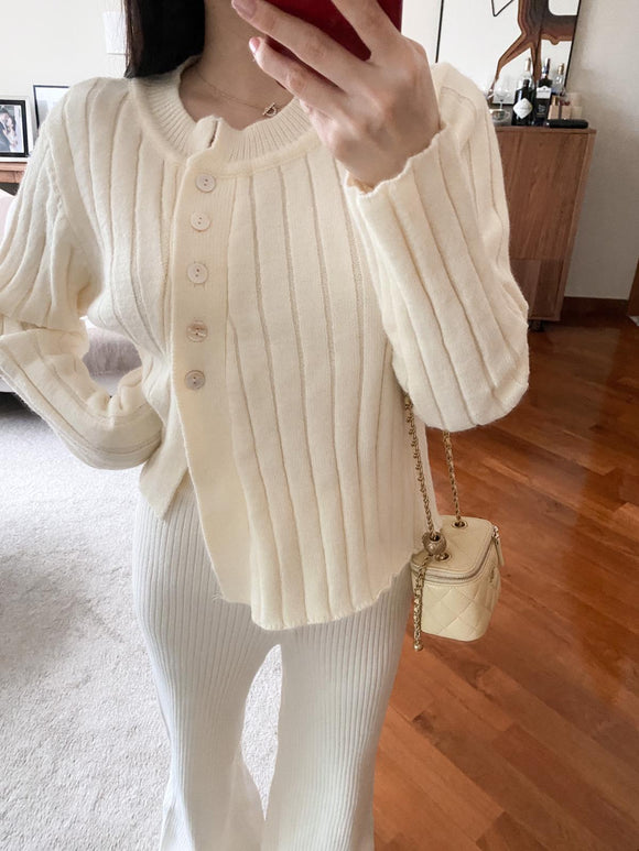 Candice cream asymmetric buttoned cardigan
