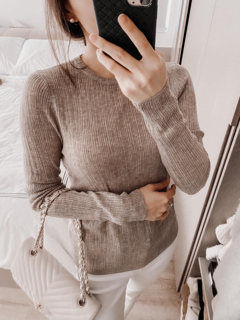 Eliza khaki ribbed thin sweater