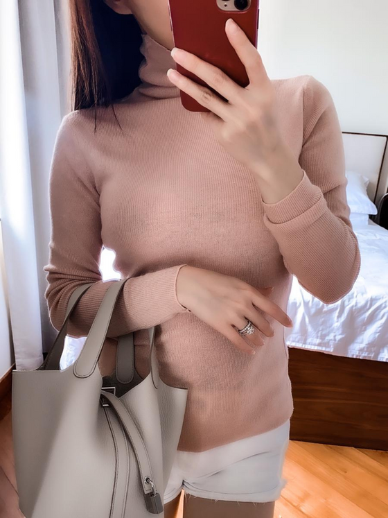 Jacky pink turtleneck knitted sweater