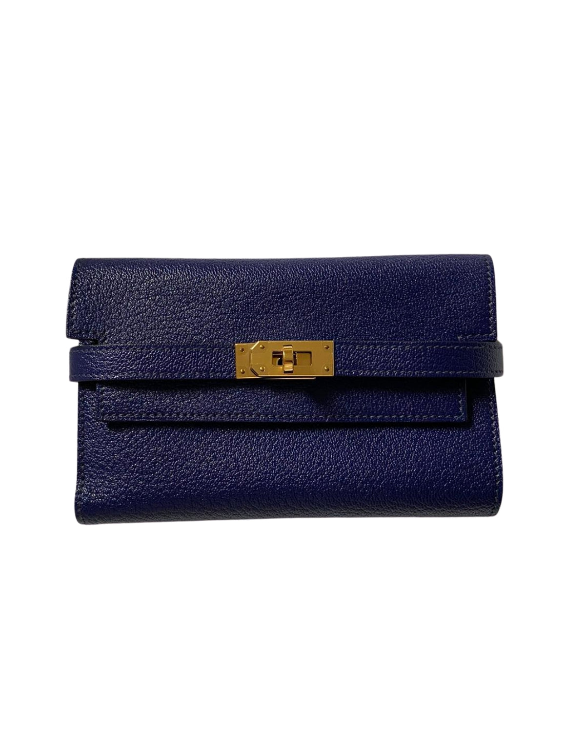 HERMES KELLY SHORT CLEMENCE LEATHER WALLET WITH GOLD HARDWARE