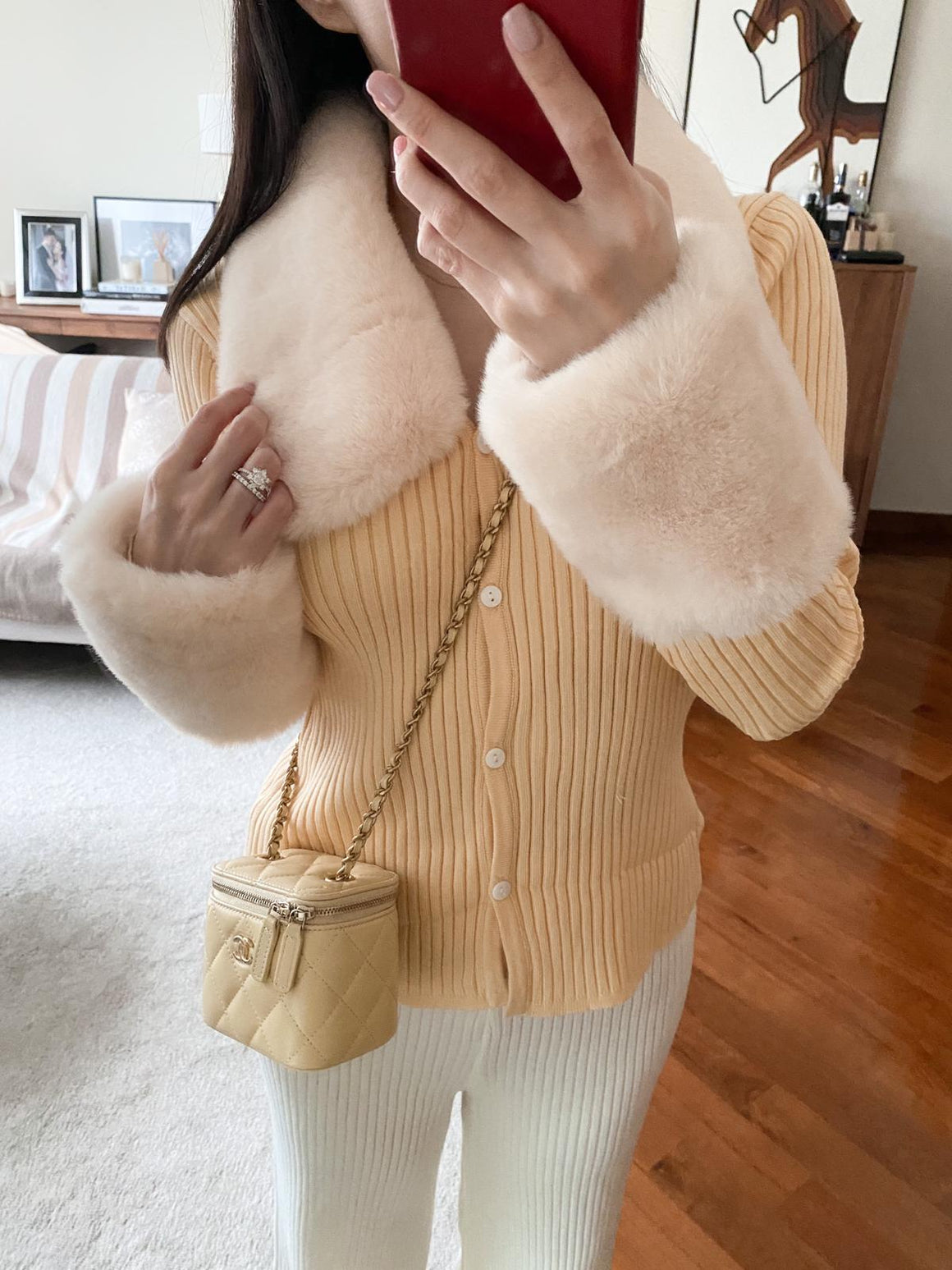 Annie yellow ribbed fur cardigan