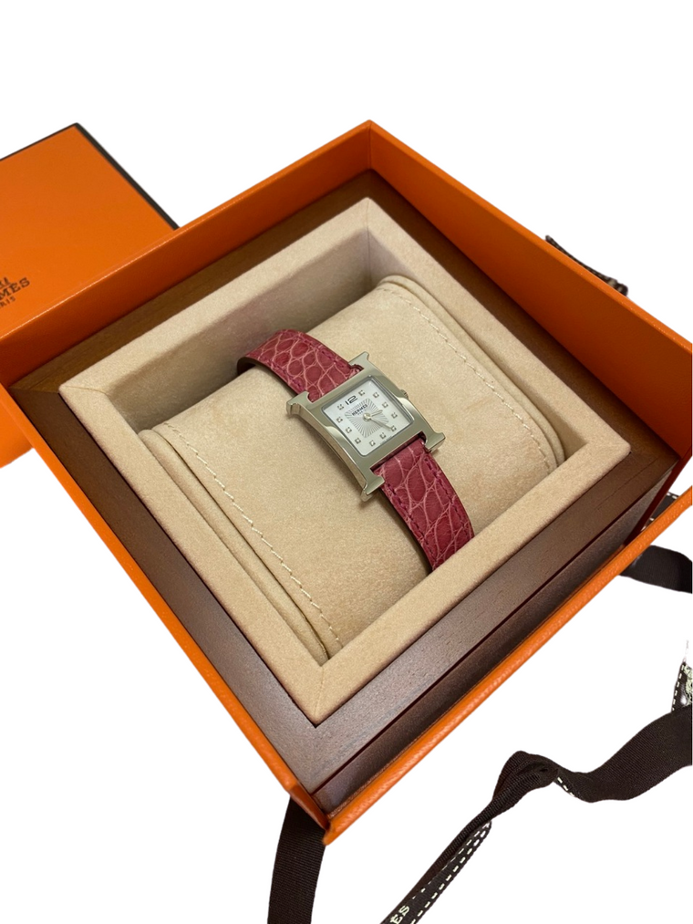 Hermes Heure H Alligator Leather Watch