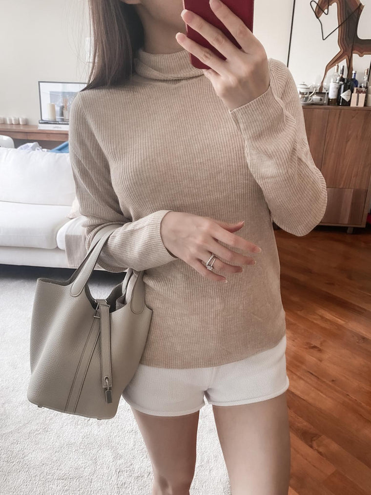 Ashley beige high-neck ribbed sweater