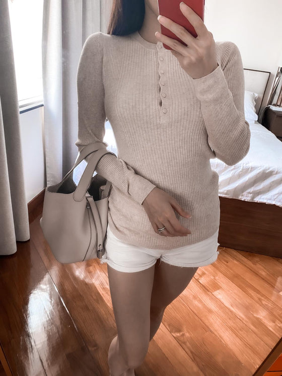 Serene beige ribbed henry sweater